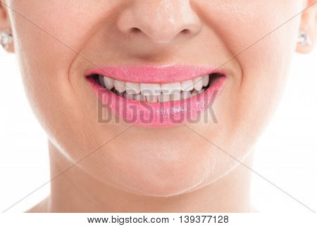 Happy Smiling Girl With Whiten Hygiene Teeth
