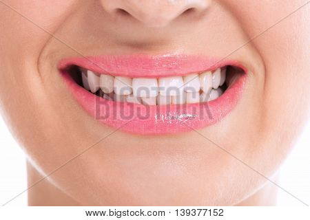 Perfect flat lady with whitening teeth, health concept
