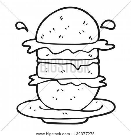 freehand drawn black and white cartoon burger