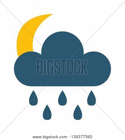 Vector illustration of cool single weather rain cloud icon. Rain cloud with raindrops in dark sky. Rain weather sky climate storm symbol cloud. Cold season water nature forecast element.