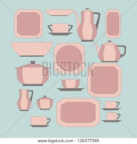 Set of kitchen utensil and collection of tableware illustration - dishes, tea pot and cups.