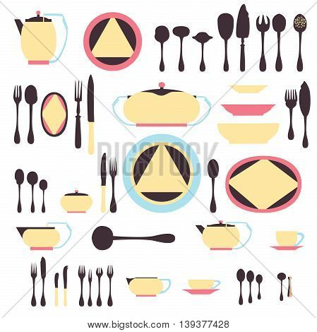 Set of kitchen utensil and collection of tableware illustration - dishes, cutlery, tea pot and cups.