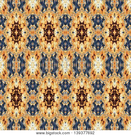Abstract decorative multicolor (brown, blue, white) texture - kaleidoscope pattern