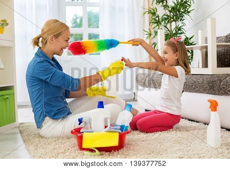 Woman And Daughter Maintain Hygiene