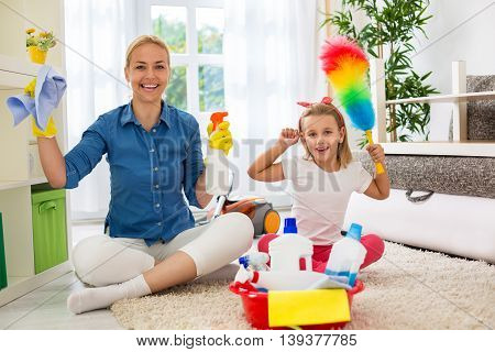 Smiling Happy Mother And Her Daughter Ready To Room Cleaning