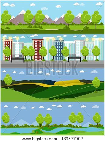 City and outdoor landscape. Vector illustration in flat style design. Countryside nature with tree, mountains, river.