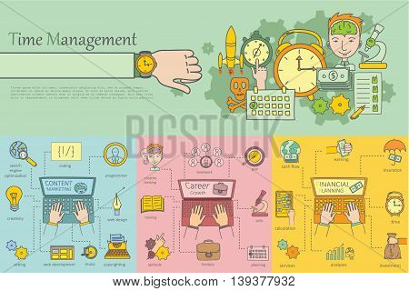 Doodle line design of web banner templates with outline icons of mobile advertising.Vector illustration concept for website or infographics
