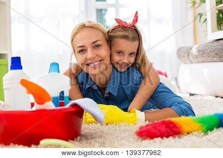 Lovely Family Having Time Together And Cleaning Home