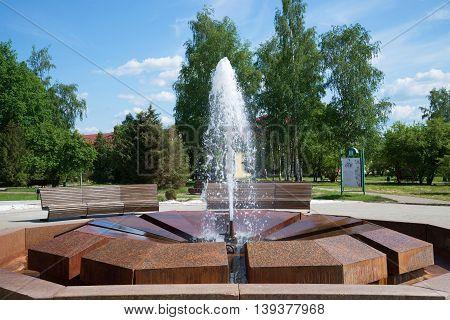 STARAYA RUSSA, RUSSIA - JUNE 02, 2016: Fountain Muraveva close up of a sunny summer day. The Resort of Staraya Russa. Tourist landmark