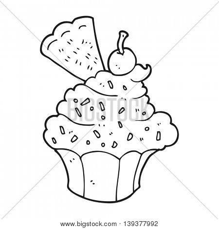freehand drawn black and white cartoon cupcake