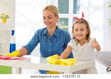 Daughter And Woman Success Clean Home