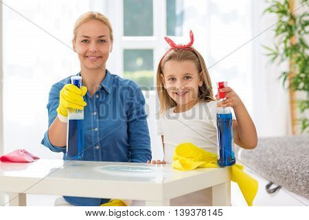 Happy Modern Family Enjoy To Cleaning House