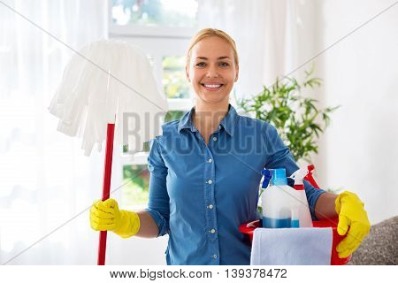 Smiling Happy Attractive Housewife Ready For Cleaning Home