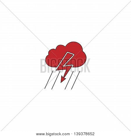 Cloud thunderstorm lightning rain. Red flat simple modern illustration icon with stroke. Collection concept vector pictogram for infographic project and logo