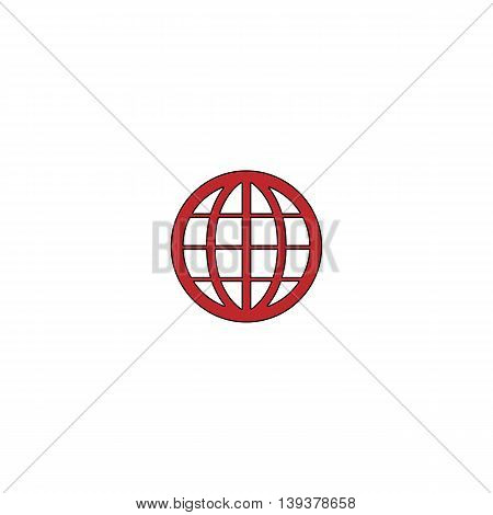 Simple Earth Globe Emblem. Red flat simple modern illustration icon with stroke. Collection concept vector pictogram for infographic project and logo