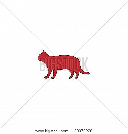 Silhouettes of cat. Red flat simple modern illustration icon with stroke. Collection concept vector pictogram for infographic project and logo