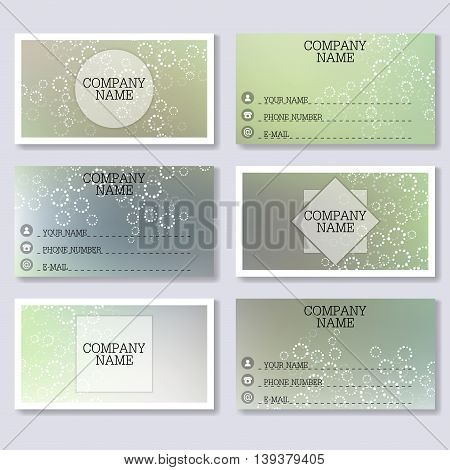 Set template of modern business visiting cards. Abstract background with molecule structure DNA and neurons. Medicine, science and technology. Vector illustration.