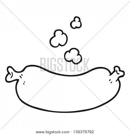 freehand drawn black and white cartoon hot sausage