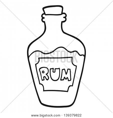 freehand drawn black and white cartoon rum bottle