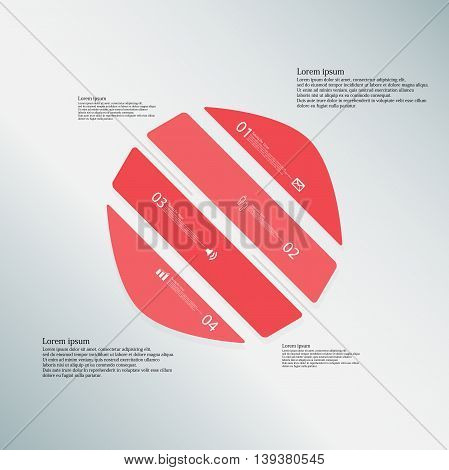 Circle Illustration Template Consists Of Four Red Parts On Blue Background