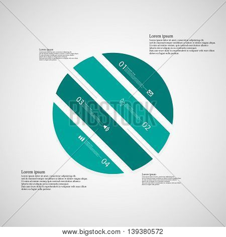 Illustration infographic template with shape of circle. Object askew divided to four parts with blue color. Each part contains Lorem Ipsum text number and sign. Background is light.