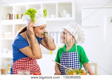 Funny cute family moments in kitchen funny time