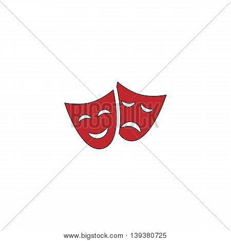 Happy and sad Theater masks. Red flat simple modern illustration icon with stroke. Collection concept vector pictogram for infographic project and logo