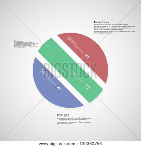Illustration infographic template with shape of circle. Object askew divided to three parts with various color. Each part contains Lorem Ipsum text number and sign. Background is light.