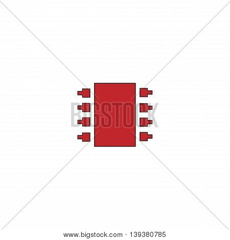 Microchip. Red flat simple modern illustration icon with stroke. Collection concept vector pictogram for infographic project and logo