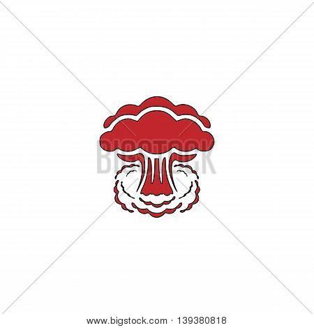 Mushroom cloud, nuclear explosion, silhouette. Red flat simple modern illustration icon with stroke. Collection concept vector pictogram for infographic project and logo