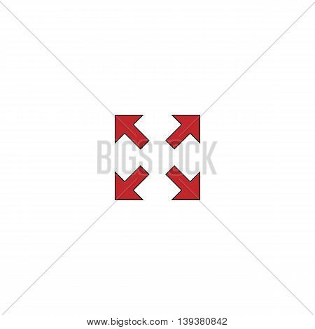 Arrows in four directions. Red flat simple modern illustration icon with stroke. Collection concept vector pictogram for infographic project and logo