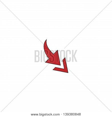 Arrow one by one. Red flat simple modern illustration icon with stroke. Collection concept vector pictogram for infographic project and logo