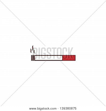 Smoking cigarette. Red flat simple modern illustration icon with stroke. Collection concept vector pictogram for infographic project and logo