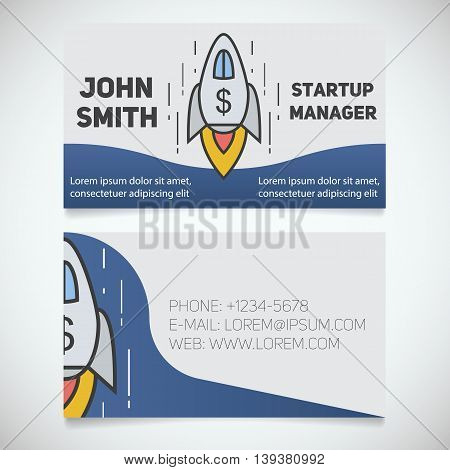 Business card print template. Startup manager. Spaceship. Goal achievement logo. Stationery design concept. Vector illustration