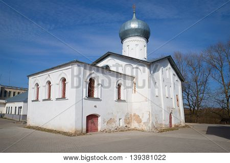 The old Church of Nikola Belyi, sunny april day. Veliky Novgorod, Russia
