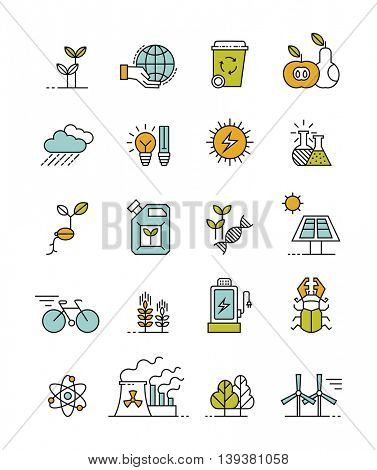 set of 20 minimalistic ecology icons