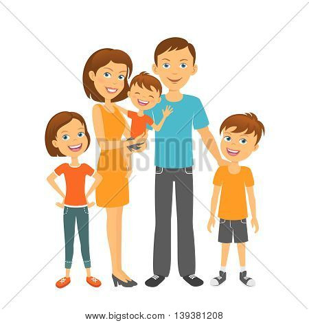 Parents with kids. Happy family. Mother and father with children
