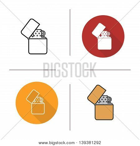 Flip lighter icon. Flat design, linear and color styles. Cigarette lighter isolated vector illustrations