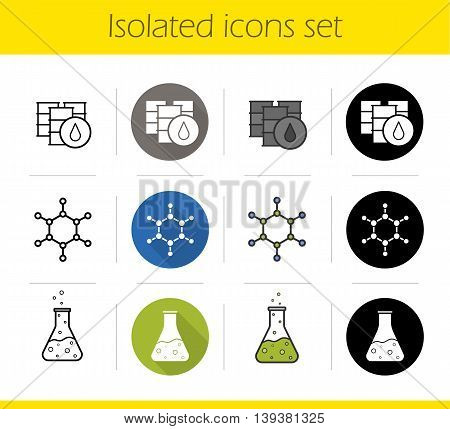 Petroleum industry icons set. Flat design, linear, black and color styles. Oil barrels, molecular structure, chemical reaction. Flask with poison and molecule isolated vector illustrations