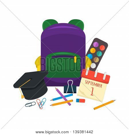 Selection of various individual school supplies on white background. Education vector pencil notebook school supplies. Learning accessories student school supplies back to school education concept.