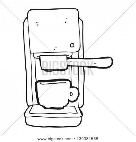 freehand drawn black and white cartoon espresso maker