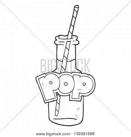 freehand drawn black and white cartoon fizzy drink bottle