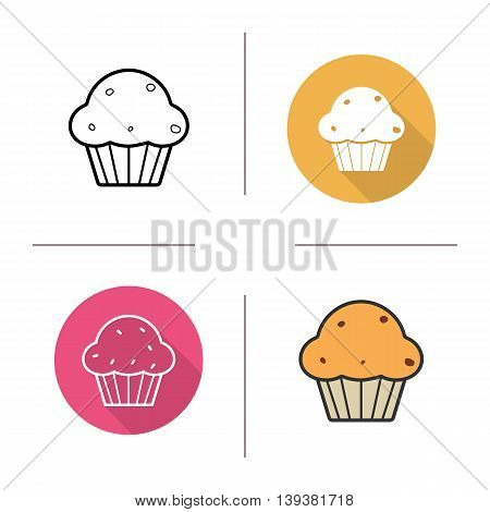 Muffin icon. Flat design, linear and color styles. Cupcake with raisins. Isolated vector illustrations