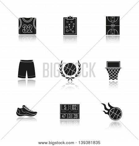 Basketball drop shadow black icons set. Basketball uniform, burning ball, scoreboard, field, hoop and sneaker. Isolated vector illustrations