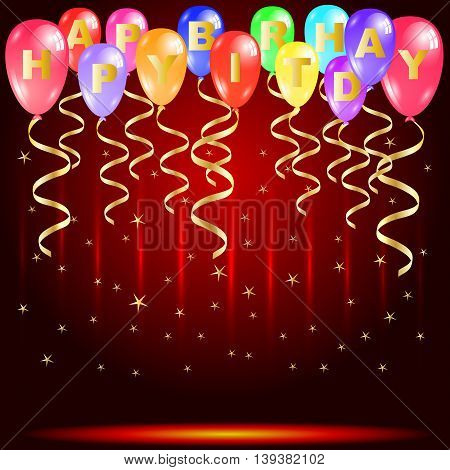 Happy birthday party with colorful balloons golden ribbons and star confetti isolated on red stage Vector illustration design with copy space