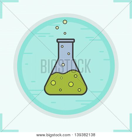 Flask color icon. Medical lab beaker. Chemical reaction vector isolated illustration