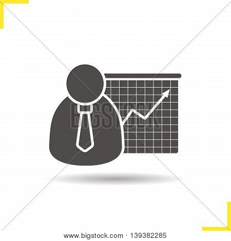 Presentation icon. Drop shadow growth chart silhouette symbol. Businessman in suit. Vector isolated illustration