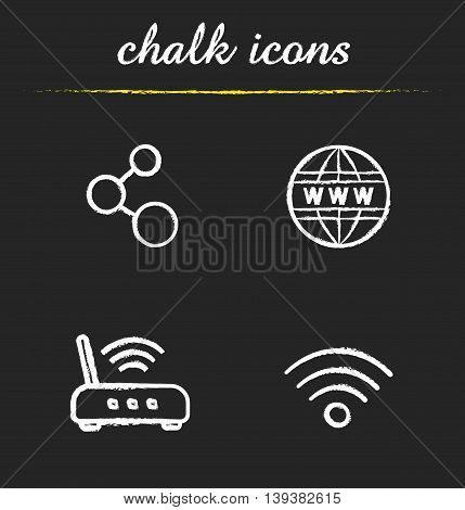 Internet icons set. Connection, www, wi fi router and signal illustrations. Isolated vector chalkboard drawings