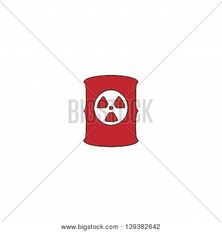 Container with radioactive waste. Red flat simple modern illustration icon with stroke. Collection concept vector pictogram for infographic project and logo