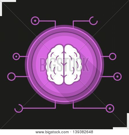 Neural networks flat design long shadow icon. Neurology. Human brain. Artificial intelligence vector silhouette symbol